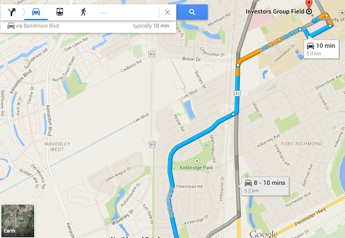 Just 10 mins drive away according to Google maps.