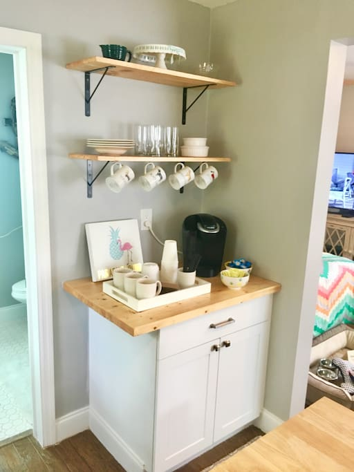 Coffee bar with Keurig stocked with K-cups and all of your coffee needs.