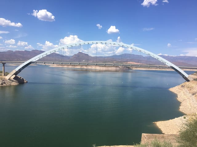"""Welcome to the """"Happy Camper"""" at Roosevelt Lake."""