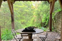 Outside table by patio