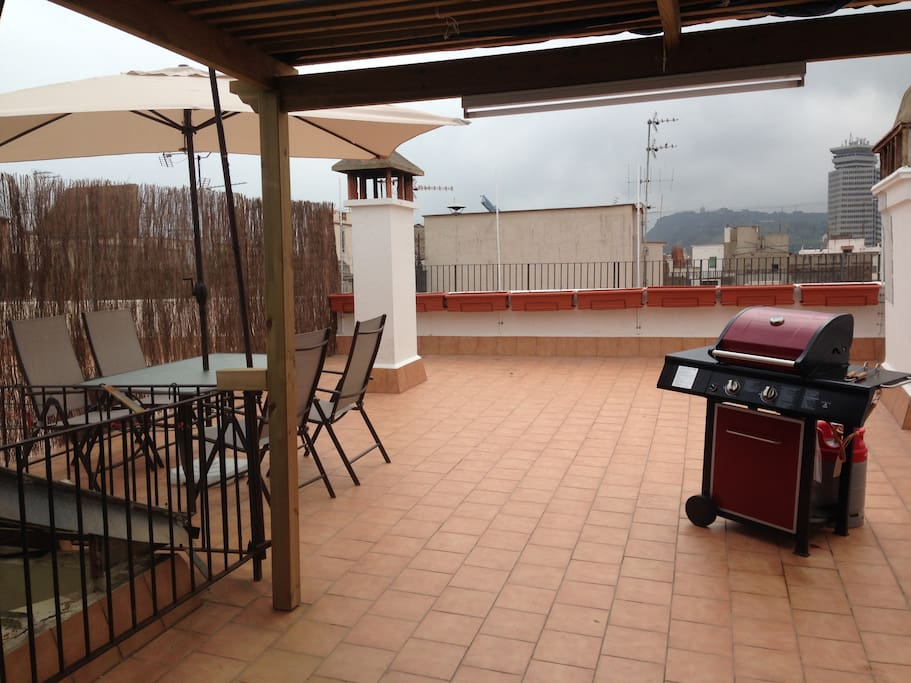 Large sunny terrace with BBQ.
