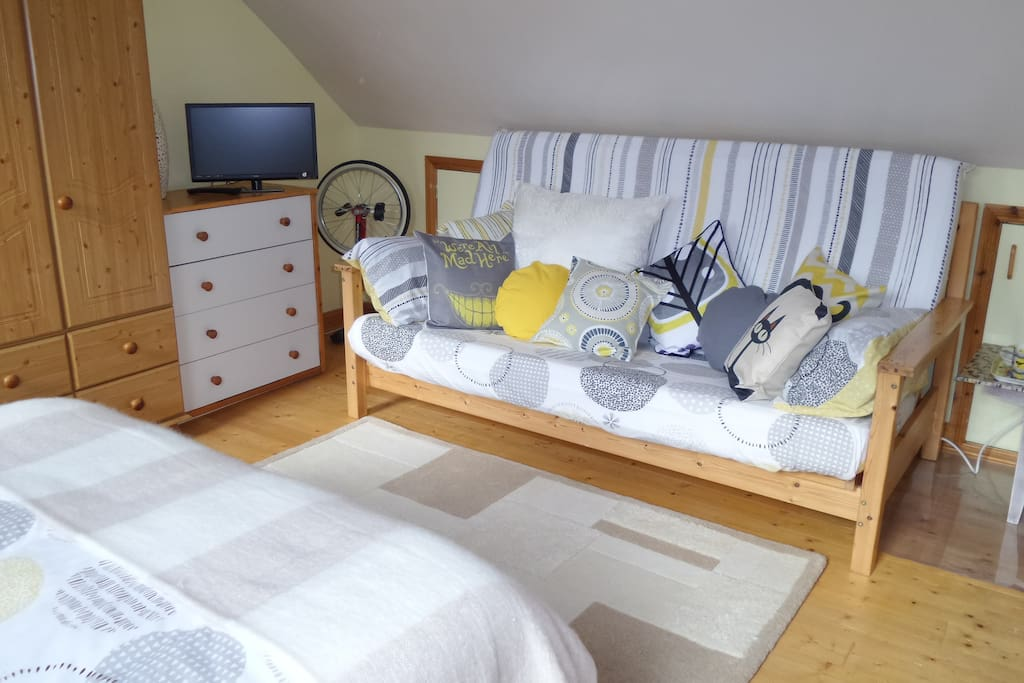Double bed settee, TV, plenty of storage space