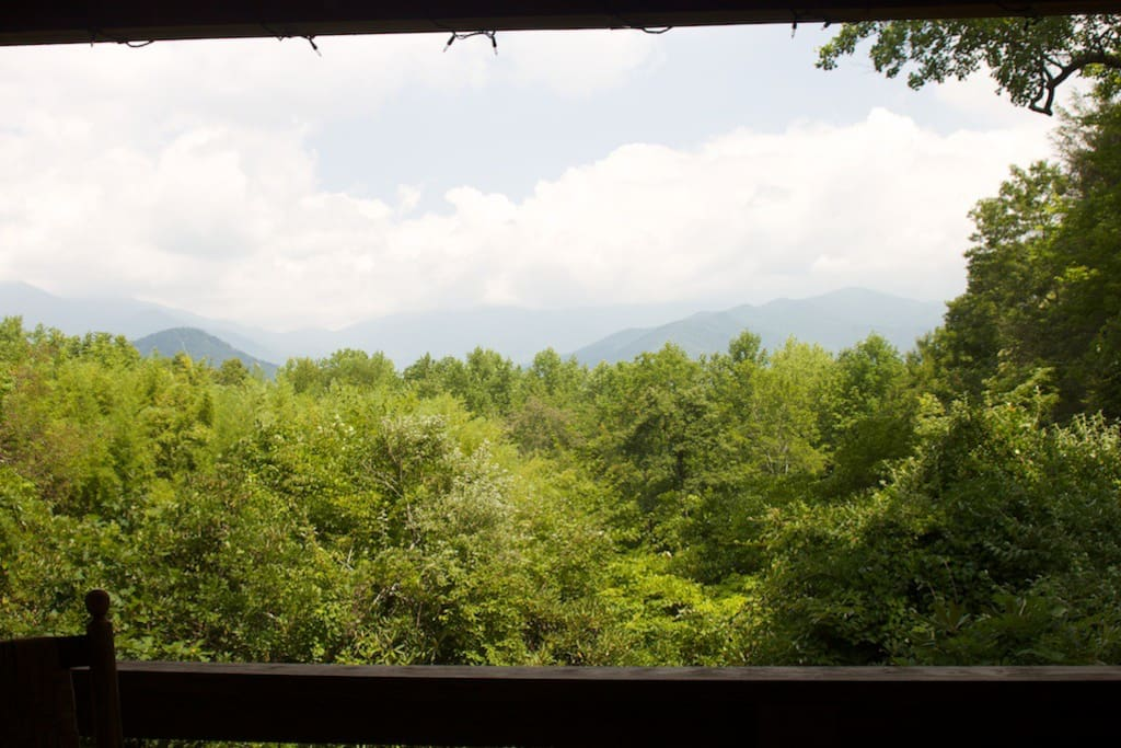 View of Blue Ridge Parkway across the valley from the covered deck.