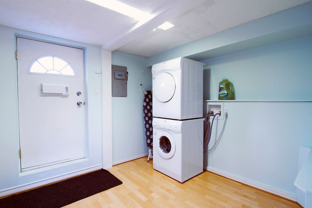 Step inside (your own private entrance). There's a washer and dryer for your exclusive use.