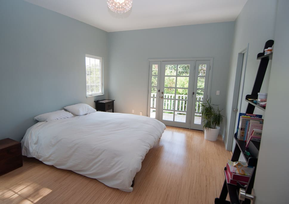 master bedroom. light and open. balcony. on second floor (with kids' rooms).
