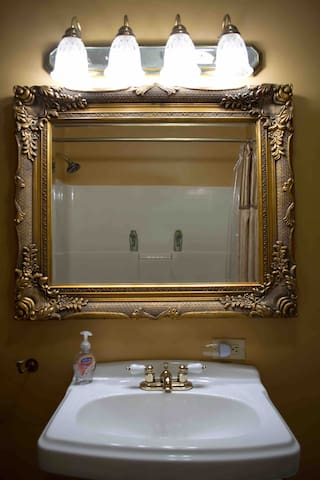 Beautiful mirror and sink in the bathroom