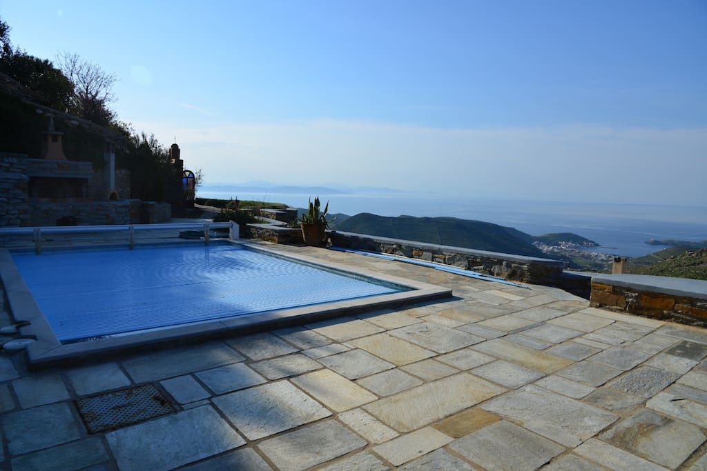Enjoy your private pool (sun heated ) and the view