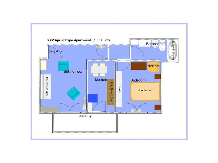 Piantina Appartamento con disposizione mobili