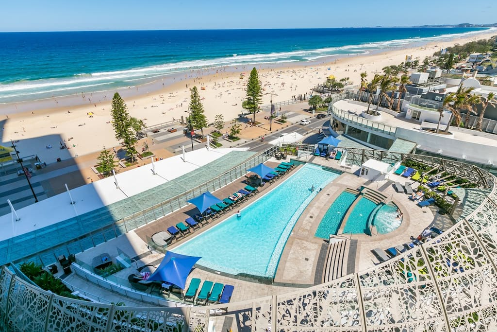 sensational view across pool to famous Surfers Beach