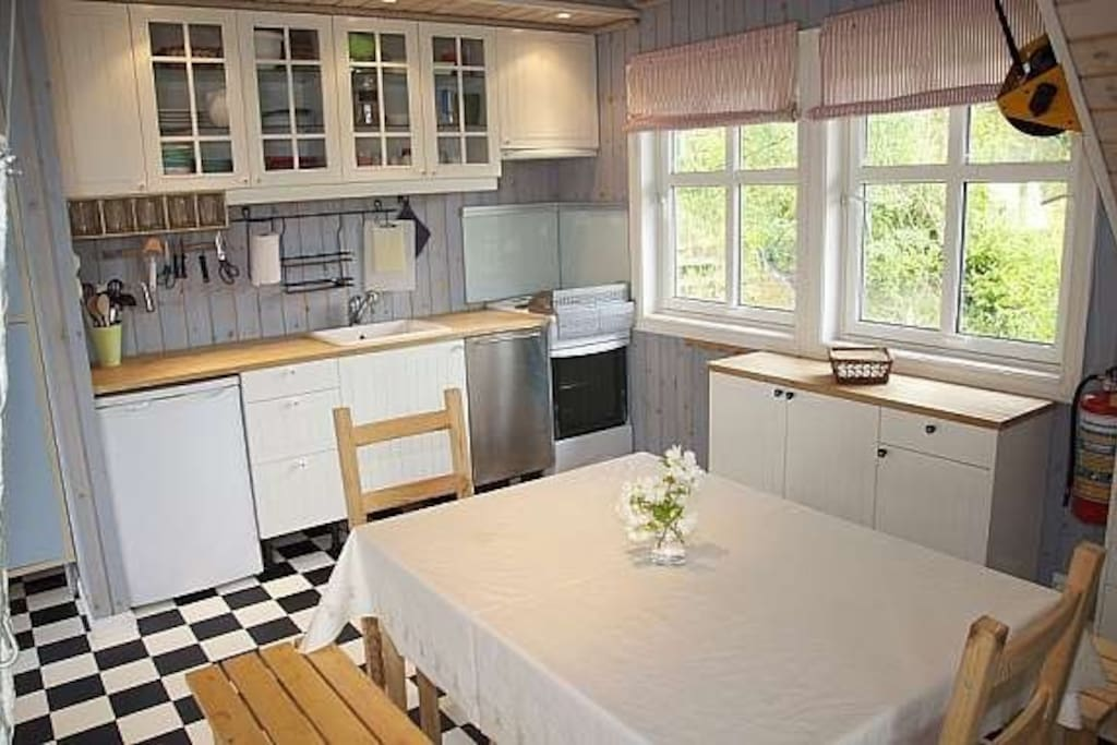 Kitchen with stove and dishwasher.
