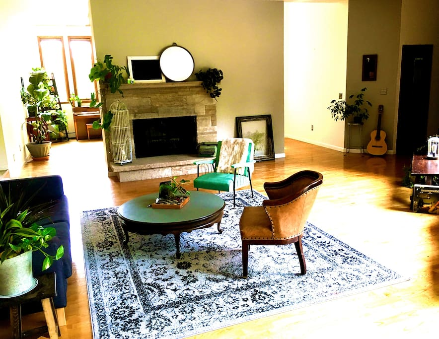 real working fire place in living room # 1, plus plenty of firewood outside for you to use. cozy up!