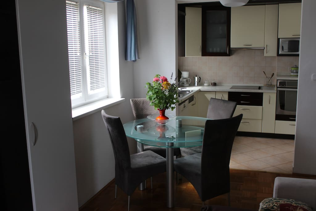 dining room with the kitchen