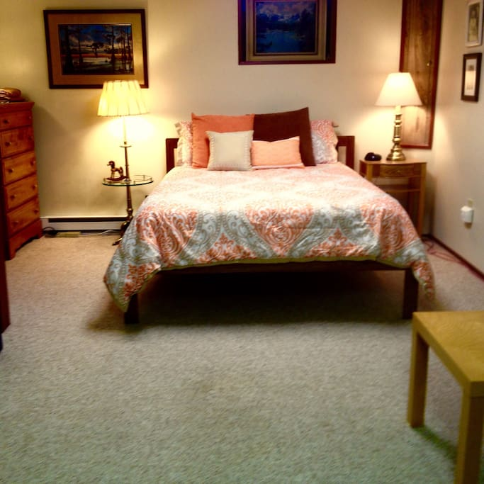 Large guest suite with comfortable queen bed