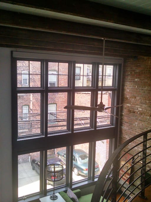 Mezzanine view of front window wall onto Court Street.