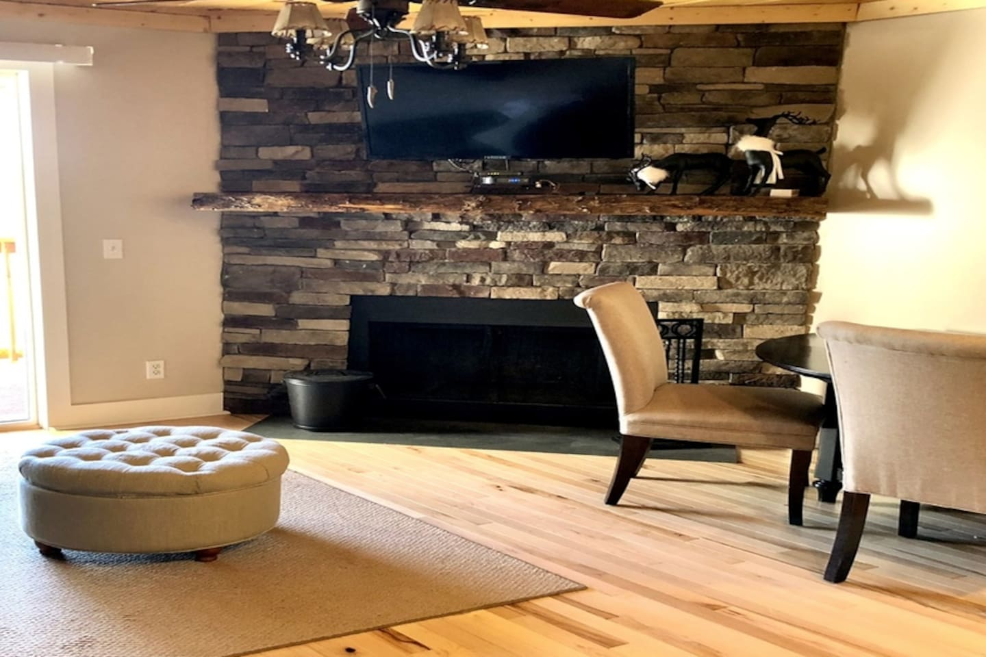 Elegant rustic all new with a cozy wood burning fireplace