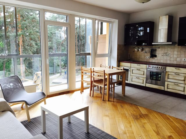 Near city centre studio apartment, forest view