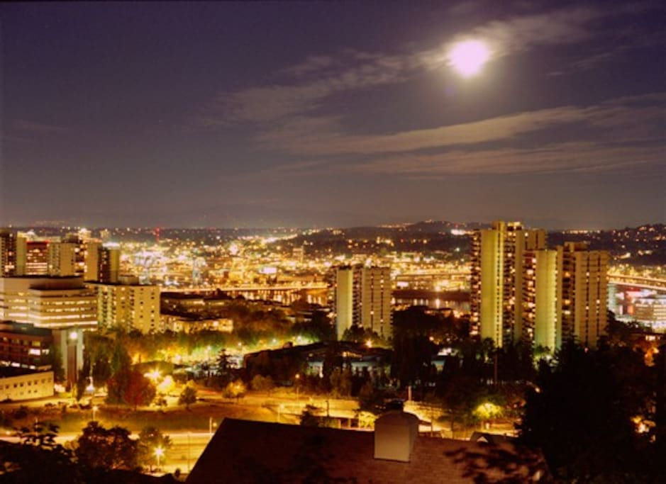 Downtown Portland from Deck at Night