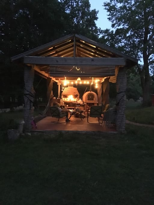 Night view of outdoor kitchen