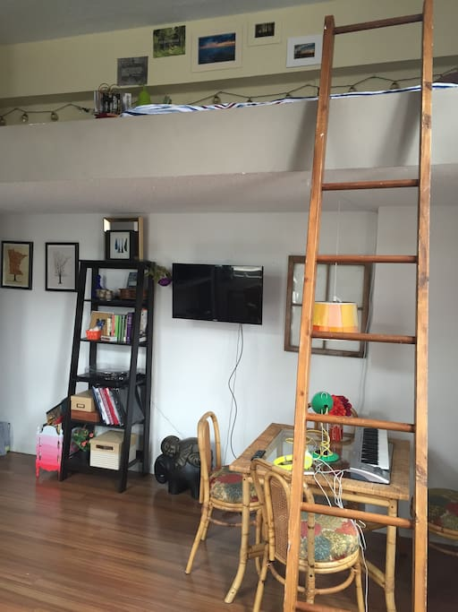 A glimpse of the ladder up to the lofted bed, workspace, and TV all for your use.