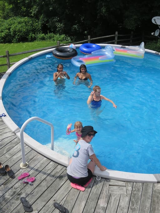 Above ground pool, great for kids - lie back and look at the Catskills in the distance.