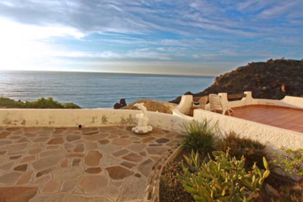 Walk way on the cliffs ocean front views