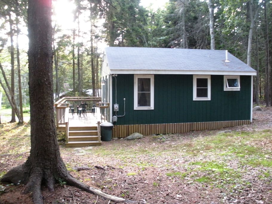 Side view of cabin and deck.