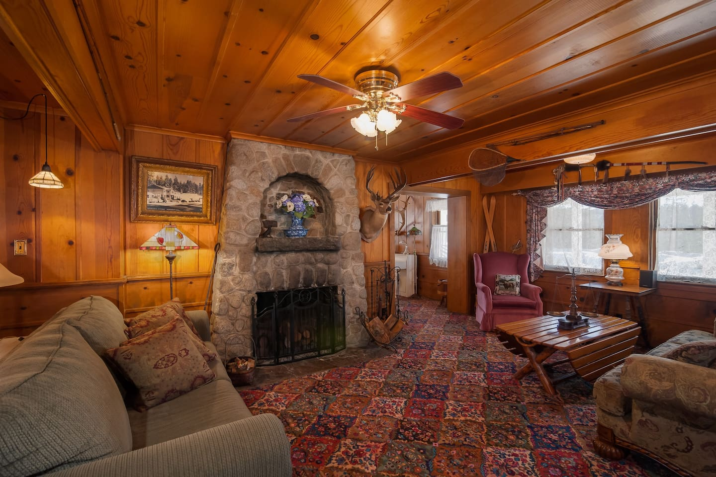 The ample sitting room is cozy and warm