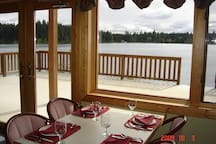 Lunch in the dining room overlooking the lake.