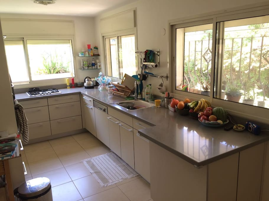 Full blown kitchen with all the necessary amenities (incl. dishwasher, mixer, food processor etc.).