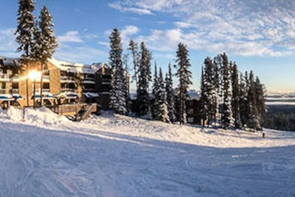 A view of the building from the ski hill. This unit is on this side.