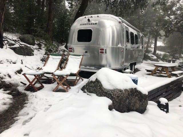 Fulton's Comet- 2019 Airstream on hillside w views