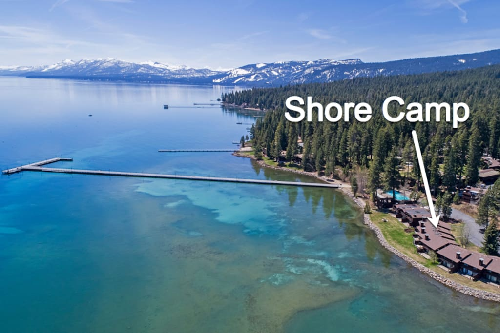 Shore Camp is on the lakefront within the Tahoe Tavern development in Tahoe City. You may access Tahoe Tavern's private pier, the largest on Tahoe.