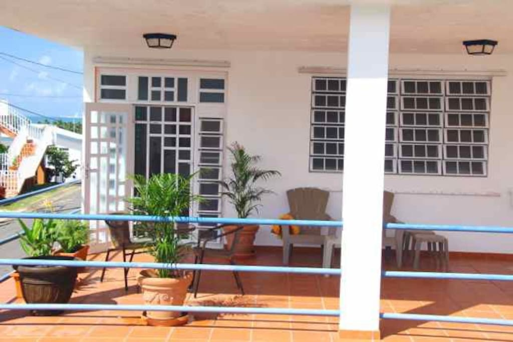 Spacious private sunny airy deck with Caribbean Sea views.
