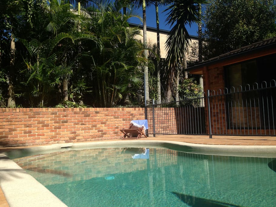 Sun drenched solar heated saltwater pool