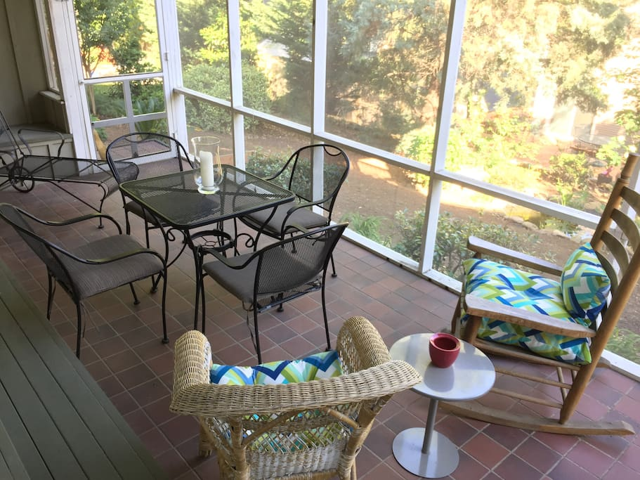 Private screened-in porch for guests