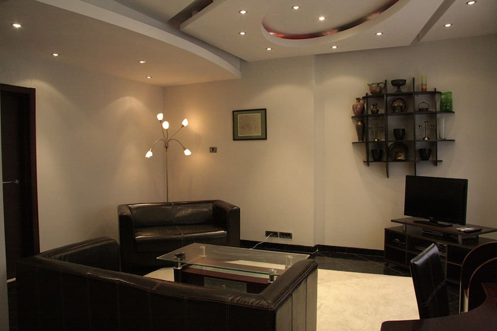 Two leather sofas in the seating area