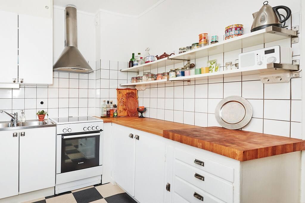 Big kitchen.