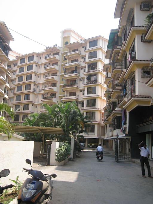 Condominium entrance with security control