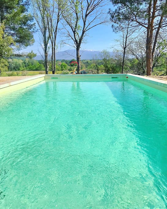Our outdoor swimming pool embraces a magnificent view of Mont Ventoux