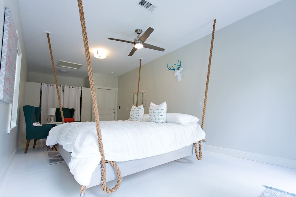 Bedroom #4 with king sized Simmons Beauty Rest hanging bed.
