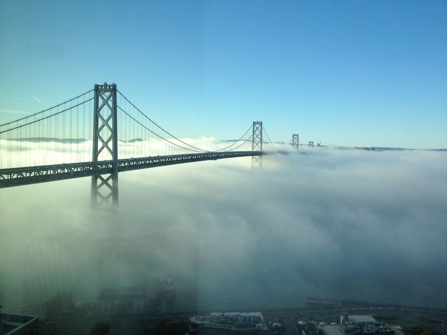 When foggy, you get a stunning view of the bay bridge