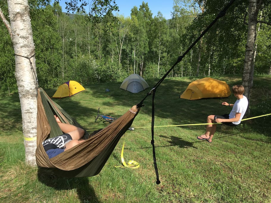 Hammocks are one option to sleep in.
