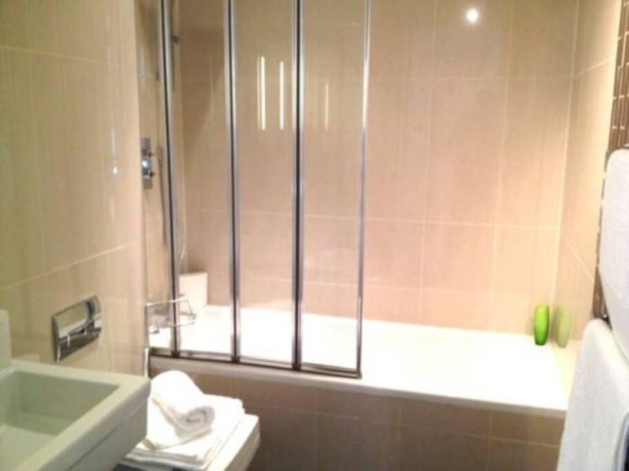Bathroom, bath shower, sink and shaver plug socket.