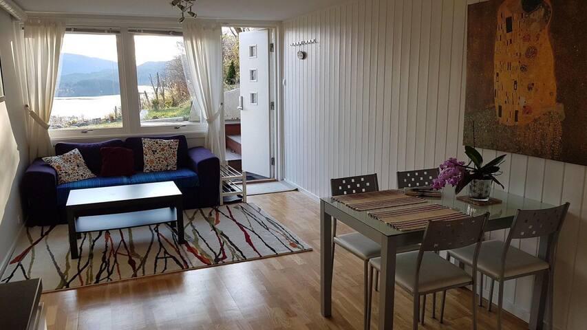Fin leilighet med hage og fantastisk utsikt