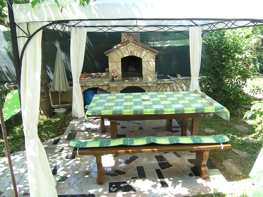 table with barbeque