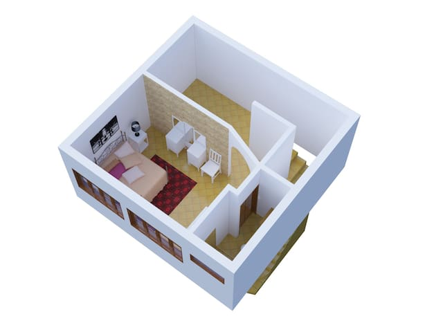 Upstairs floor plan. There is actually a closet with laundry not shown in top corner of this rendering. Master bedroom has queen bed and full bathroom with large shower, as well as AC, 2 ceiling fans, floor fan and TV