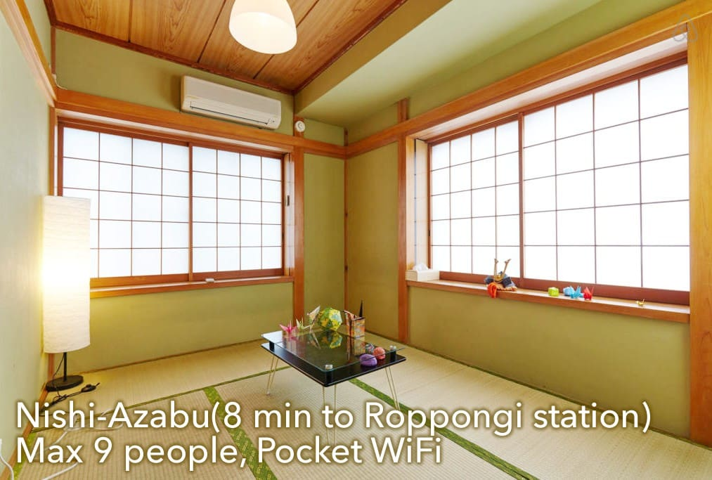8 min from Roppongi station, max 9 people available.