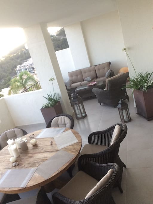 The large terrace with relaxing, dining area and wonderful views.