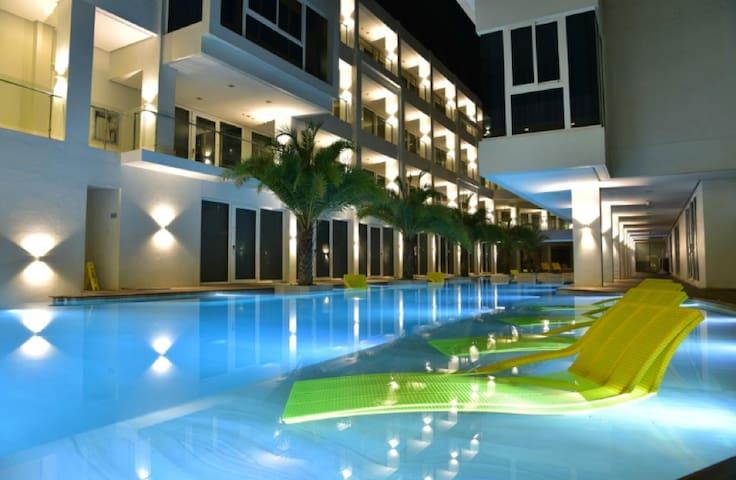 Cozy pool at night