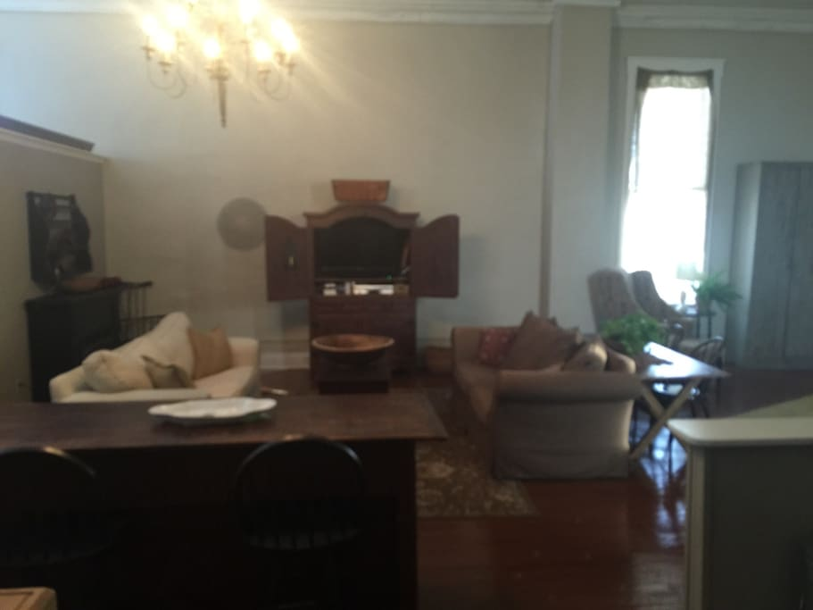 Large living room with two couches for extra guest. TV cable and wifi.